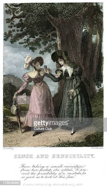 Sense and Sensibility by Jane Austen frontispiece Caption 'Then taking a small miniature from her pocket she added 'To prevent the possibility of a...