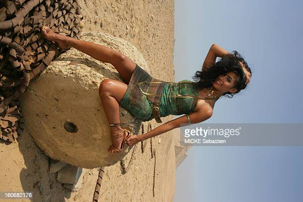 Sensual attitude of the Egyptian singer RUBY posing in front of the Giza pyramids