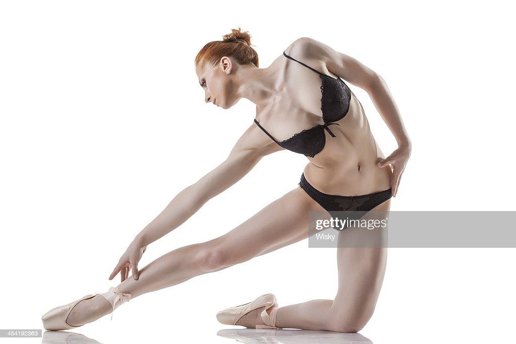 Sensual ballet dancer posing in black lingerie : Stock Photo