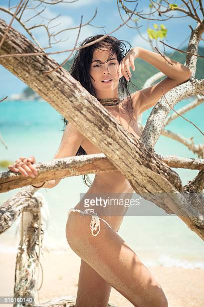 sensual beach beauty - beautiful beach babes stock photos and pictures