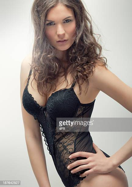 sensual beauty in lingerie (xxxl) - see through knickers stock photos and pictures