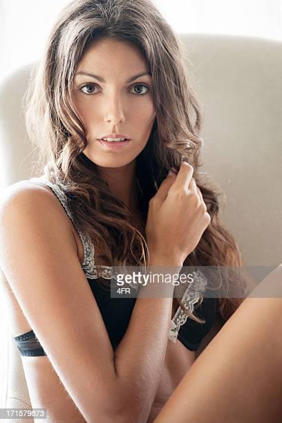 sensual retrato de beleza - calcinha transparente - fotografias e filmes do acervo