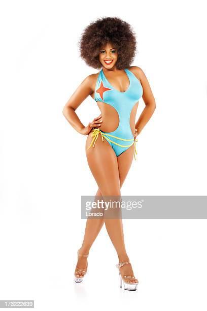 sensual black model posing in bikini