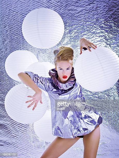 sensual futuristic woman - silver dress stock pictures, royalty-free photos & images