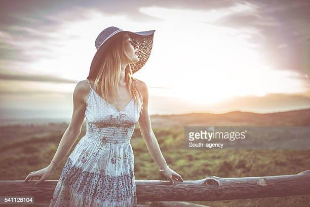 Sensual girl on mountain