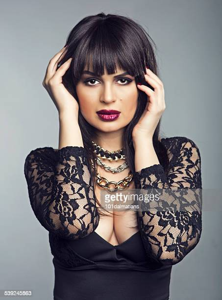 sensual latin model - indian cleavage stock pictures, royalty-free photos & images