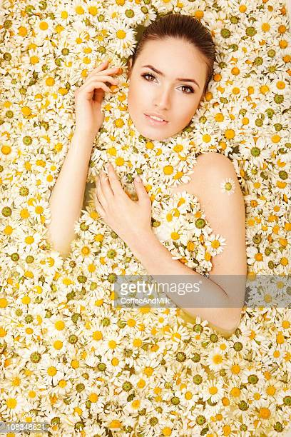 sensual portrait of a woman lying in camomiles - chamomile tea stock photos and pictures
