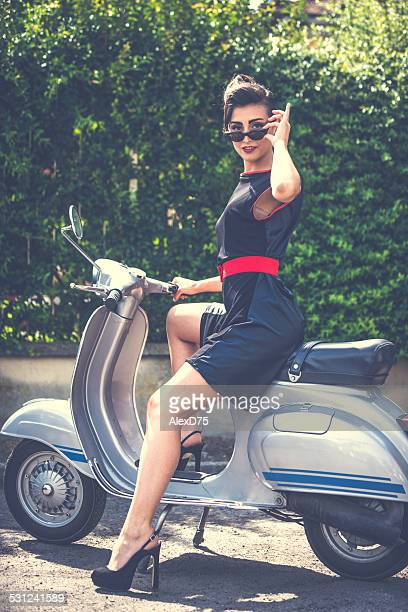 Sensual Woman on Vintage Scooter