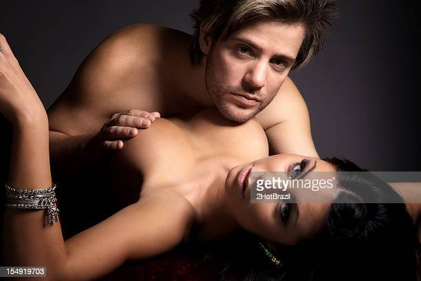 sensual young couple - male female nude stock pictures, royalty-free photos & images