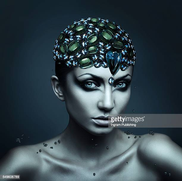 sensuous woman wearing crystal headdress - skin diamond stock pictures, royalty-free photos & images