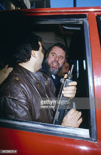 Sent by the Archbishop of Canterbury to Lebanon to negotiate for the release of Western hostages Terry Waite in a car with a Lebanese security guard...