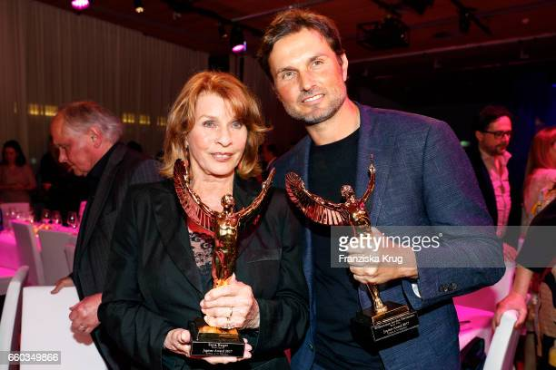 Senta Berger and her son Simon Verhoeven attend the Jupiter Award at Cafe Moskau on March 29 2017 in Berlin Germany