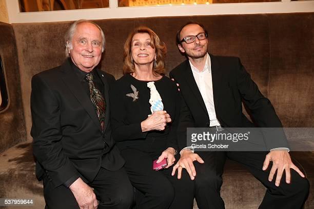 Senta Berger and husband Michael Verhoeven and her son Luca Verhoeven with award during the Bayerischer Fernsehpreis 2016 at Prinzregententheater on...