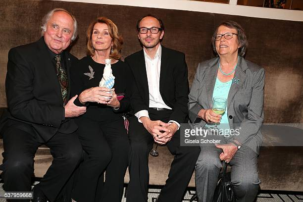 Senta Berger and husband Michael Verhoeven and her son Luca Verhoeven with award and sister of Michael Verhoeven Monika Ring Verhoeven during the...