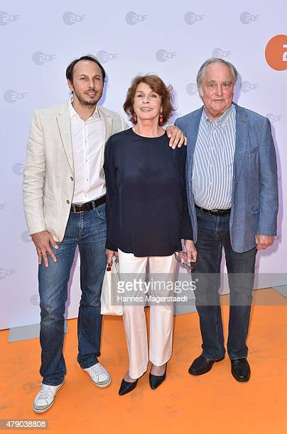 Senta Berger and husband Michael Verhoeven with son Luca Verhoeven attend the ZDF reception during the Munich Film Festival at Hugo's on June 30 2015...