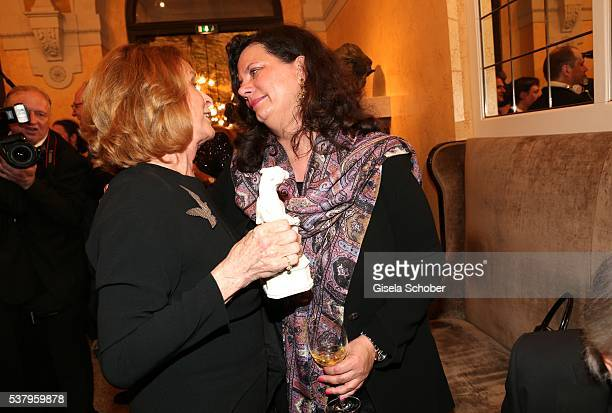 Senta Berger and Tamara Dietl widow of Helmut Dietl during the Bayerischer Fernsehpreis 2016 at Prinzregententheater on June 3 2016 in Munich Germany