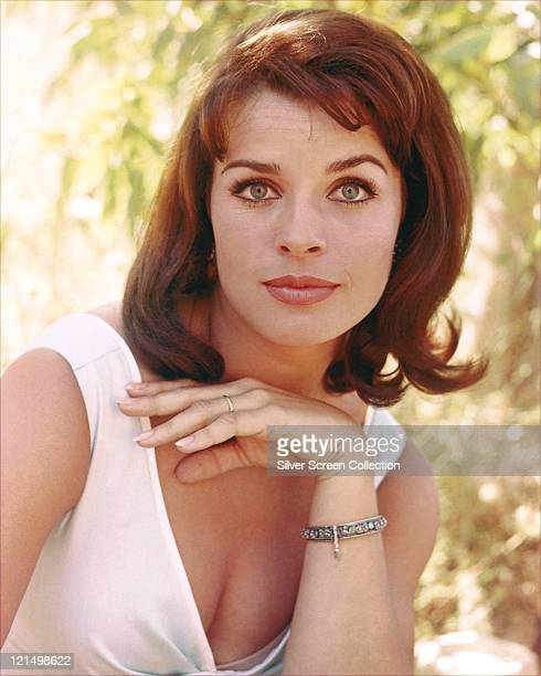 Senta Berger Austrian actress wearing a lowcut white sleeveless top circa 1970