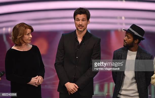 Senta Berger Florian David Fitz and Eric Kabongo attend the Bayerischer Filmpreis 2017 at Prinzregententheater on January 20 2017 in Munich Germany