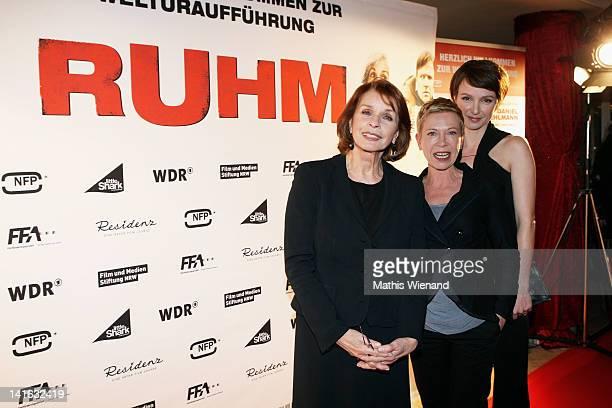Senta Berger Isabel Kleefeld and Julia Koschitz attend the 'Ruhm' Germany Film Premiere at 'Residenz eine astor Film Lounge' on March 20 2012 in...