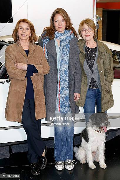 Senta Berger Patricia Aulitzky and Cornelia Froboess during the on set photo call for the film 'Almuth und Rita raeumen auf' at Arri Kino on April 15...