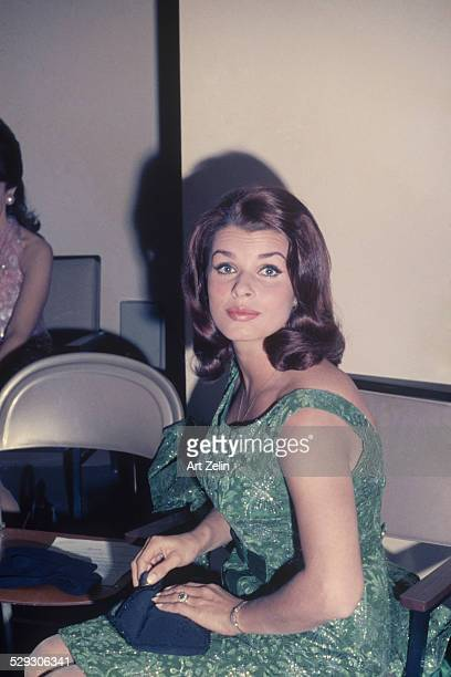 Senta Berger wearing a green semiformal dress circa 1970 New York