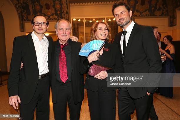 Senta Berger with her husband Michael Verhoeven their son Simon Verhoeven and son Luca Verhoeven during the Bavarian Film Award 2016 at...