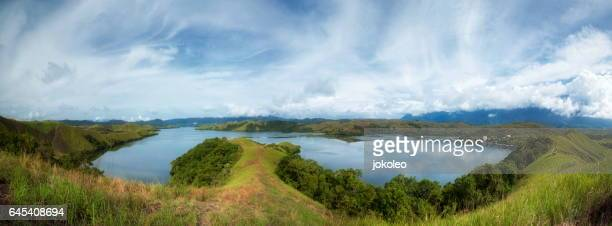 sentani lake - indonesia map stock photos and pictures