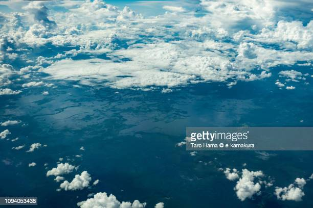 Sentarum Lake National Park in West Kalimantan in the island of Borneo daytime aerial view from airplane