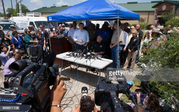 SenTed Cruz Texas Gov Greg Abbott and Texas Lt Gov Dan Patrick speak to the media during a press conference about the shooting incident at Santa Fe...