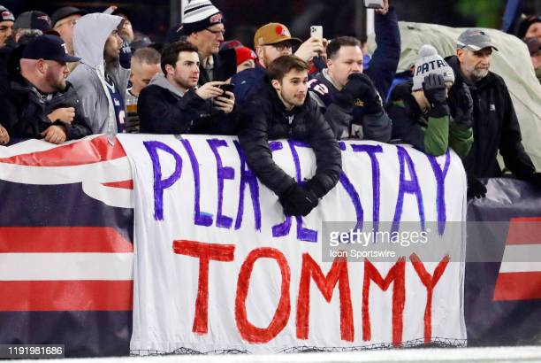 Sentiment for New England Patriots quarterback Tom Brady to stay in New England during an AFC Wild Card game between the New England Patriots and the...
