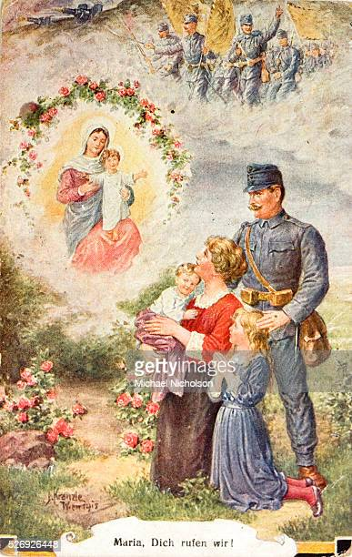 Sentimental postcard from World War I showing an Austrian Imperial Army soldier with his family praying to a Virgin and Child. The caption reads...