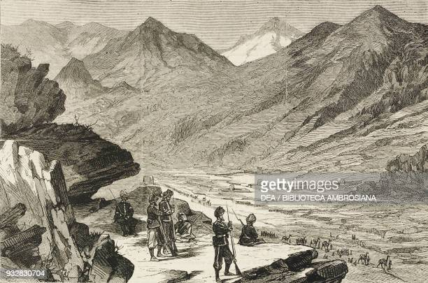 Sentries of the 27th Punjab Bengal Infantry Khyber Pass Afghanistan Second AngloAfghan War illustration from the magazine The Graphic volume XIX no...