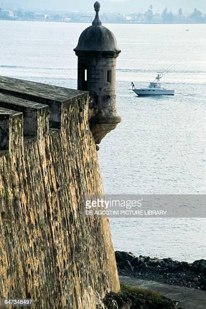 Sentry box on the bastion of Castillo San Felipe del Morro or Morro Castle San Juan Puerto Rico