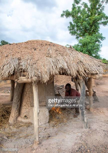 Senufo blacksmith preparing the fire, Poro region, Koni, Ivory Coast on May 2, 2019 in Koni, Ivory Coast.