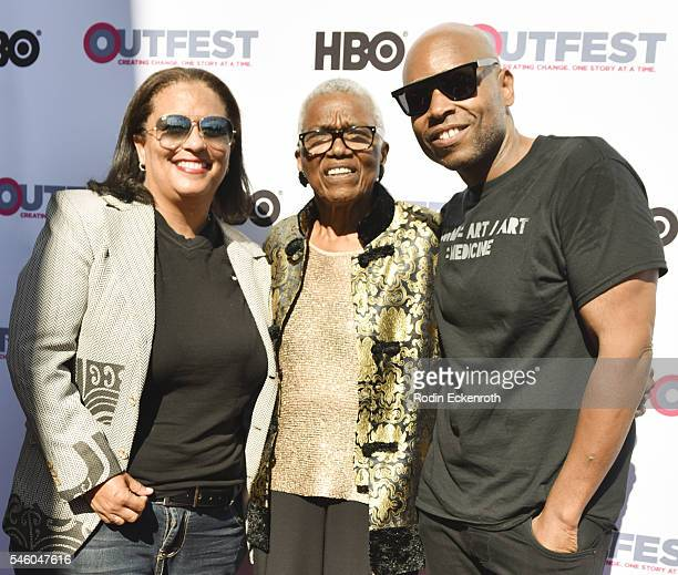 SenYon Kelly VHF founder/CEO Jewel ThaisWilliams and Sovory attend 2016 Outfest Los Angeles LGBT Film Festival screening of Jewels Catch One at...