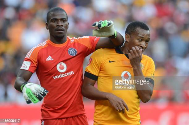 Senzo Meyiwa of Orlando Pirates and Lehlohonolo Majoro of Kaiser Chiefs during the Absa Premiership match between Orlando Pirates and Kaizer Chiefs...
