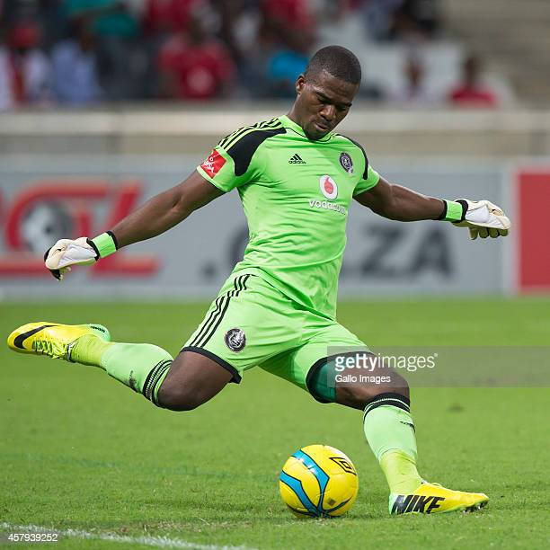 Senzo Meyiwa of Pirates in action during the Absa Premiership match between Black Aces and Orlando Pirates at Mbombela Stadium on March 18 2014 in...