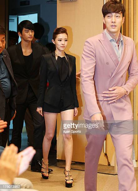Seo InGuk Kim YooRi and So JiSub attend the SBS Drama 'The Master's Sun' press conference at SBS Building on July 26 2013 in Seoul South Korea