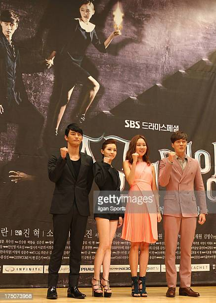 Seo InGuk Kim YooRi Kong HyoJin and So JiSub attend the SBS Drama 'The Master's Sun' press conference at SBS Building on July 26 2013 in Seoul South...