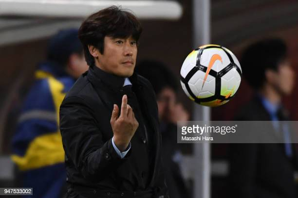 Seo Jungwoncoach of Suwon Samsung Bluewings looks on during the AFC Champions League Group H match between Kashima Antlers and Suwon Samsung...