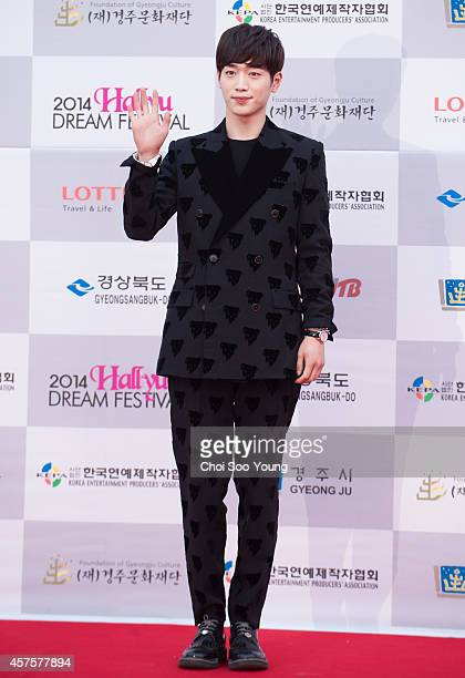 Seo KangJoon poses for photographs during the 2014 Hallyu Dream Concert at Gyeongju Citizen Stadium on September 28 2014 in Seoul South Korea