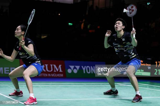 Seo Seung Jae and Chae Yujung of Korea compete in the Mixed Double final match against Hafiz Faizal and Gloria Emanuelle Widjaja of Indonesia during...