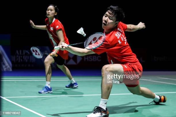 Seo Seung Jae and Chae Yujung of Korea compete in the Mixed Doubles second round match against Wang ChiLin and Cheng Chi Ya of Chinese Taipei during...
