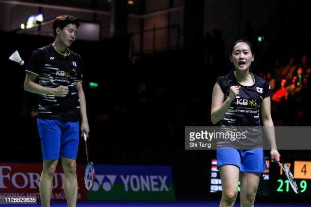 Seo Seung Jae and Chae Yujung of Korea react in the Mixed Double final match against Hafiz Faizal and Gloria Emanuelle Widjaja of Indonesia during...