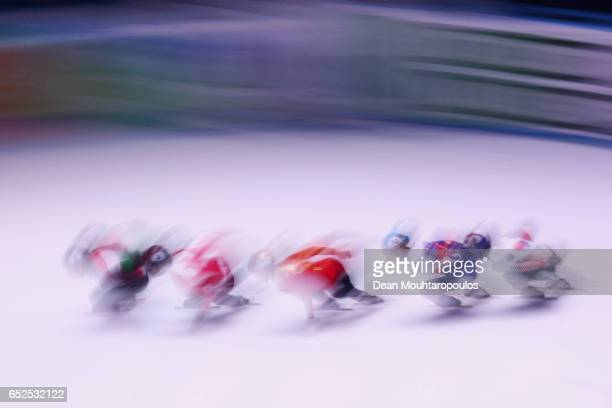 Seo Yi Ra of South Korea #5 Shaoang Liu of Hungary #2 Charles Hamelin of Canada #1 Han Tianyu of China and Semen Elistratov of Russia compete on day...