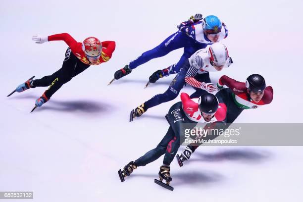 Seo Yi Ra of South Korea #5 Shaoang Liu of Hungary #2 Charles Hamelin of Canada #1 Han Tianyu of China and Semen Elistratov of Russia compete on day...