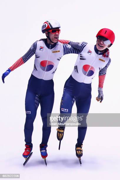 Seo Yi Ra of South Korea and Sin Da Woon of South Korea celebrate after they compete on day two in the 3000m Mens Super Final at ISU World Short...