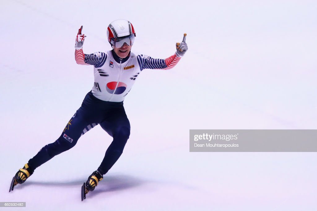 #8 Seo Yi Ra of South Korea celebrates after he competes and wins on day two in the 1000m Mens Final at ISU World Short track Speed Skating Championships held at the Ahoy on March 12, 2017 in Rotterdam, Netherlands.