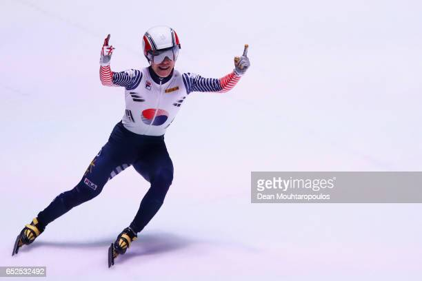 Seo Yi Ra of South Korea celebrates after he competes and wins on day two in the 1000m Mens Final at ISU World Short track Speed Skating...