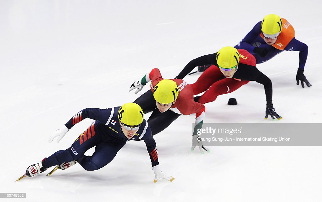 Seo Yi-Ra of South Korea, Liu Shaoang of Hungary, Shi Jingnan of China and Sjinkie Knegt of Netherlands compete in the Men 500M Semifinals during the ISU World Cup Short Track Speed Skating 2014/15 - Seoul at Mokdong Ice Rink on December 21, 2014 in Seoul, South Korea.
